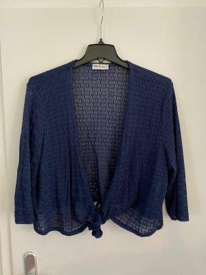 Ulla Popken Cardigan en crochet bleu-bleu foncé