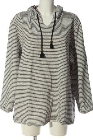 Ulla Popken Hooded Sweatshirt natural white-black striped pattern elegant
