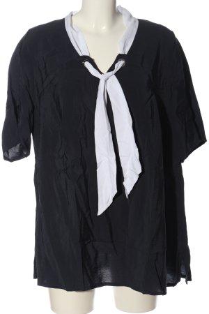 Ulla Popken Kurzarm-Bluse schwarz-weiß Casual-Look