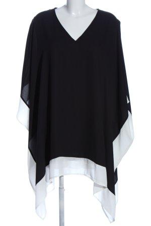 Ulla Popken Poncho negro-blanco look casual