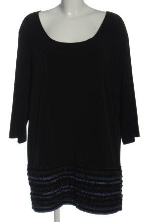 Ulla Popken Long Sleeve Blouse black striped pattern casual look