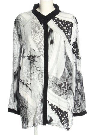 Ulla Popken Langarm-Bluse weiß-schwarz abstraktes Muster Casual-Look