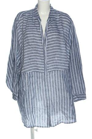 Ulla Popken Blusa in lino blu-bianco motivo a righe stile casual