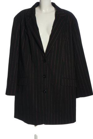 Ulla Popken Lange blazer zwart-bruin gestreept patroon zakelijke stijl