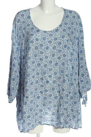 Ulla Popken Long Blouse white-blue allover print casual look