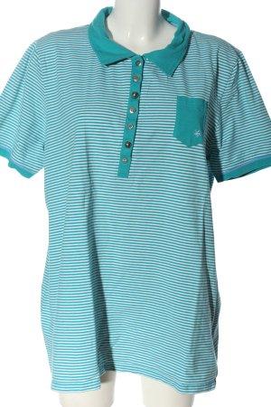 Ulla Popken Camisa de rayas turquesa-blanco estampado a rayas look casual