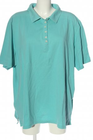 Ulla Popken Polo Shirt turquoise allover print casual look