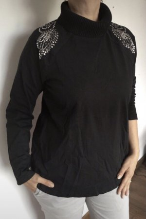 Ulla Popken Turtleneck Sweater black-silver-colored