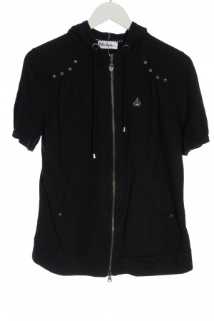 Ulla Popken Shirt Jacket black embroidered lettering casual look