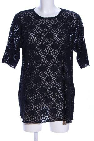 Ulla Popken Spitzenbluse schwarz abstraktes Muster Elegant