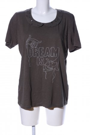 Ulla Popken T-Shirt braun-weiß Motivdruck Casual-Look