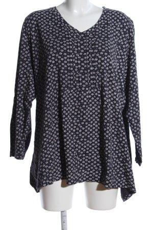Ulla Popken T-Shirt schwarz-weiß Allover-Druck Casual-Look