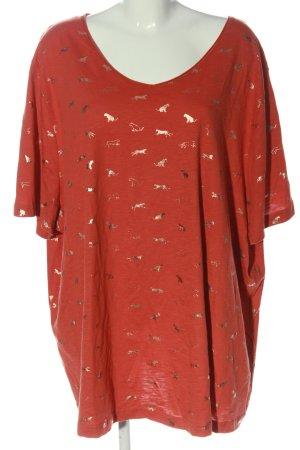 Ulla Popken T-shirt rosso stampa integrale stile casual