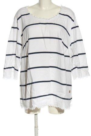 Ulla Popken U-Boot-Shirt weiß-schwarz Streifenmuster Casual-Look
