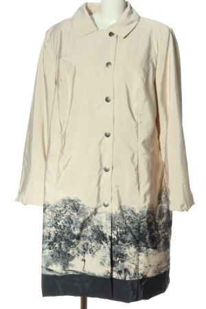 Ulla Popken Between-Seasons-Coat cream-black allover print casual look