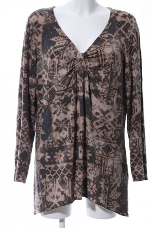 Ulla Popken V-Neck Shirt brown-cream abstract pattern casual look