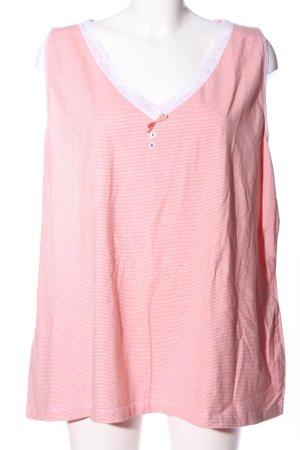 Ulla Popken V-Ausschnitt-Shirt pink Streifenmuster Casual-Look