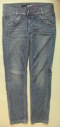 """Ultraseltene Vintage Hüft-Jeans von MISS SIXTY """"Karen"""", used look, Patches, Größe W28, DE 36"""