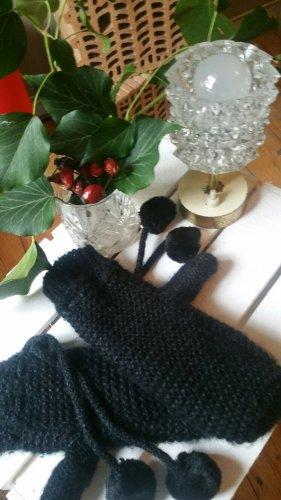 Ultrawarme gefütterte Strickhandschuhe Fäustlinge H&M Fleece Fellbommel Bommelhandschuhe schwarz