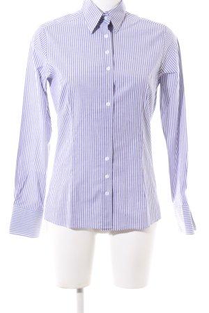 Umani Hemd-Bluse weiß-lila Streifenmuster Business-Look