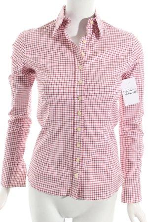 Umani Camicia blusa bianco-rosso scuro motivo a quadri stile classico