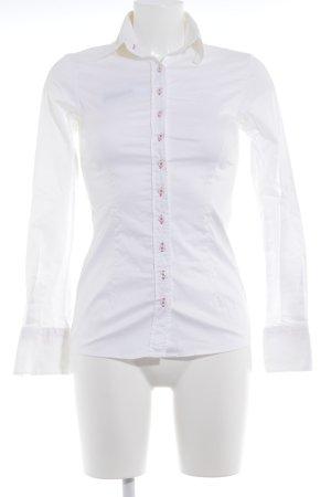 Umani Camicia blusa bianco-magenta stile semplice