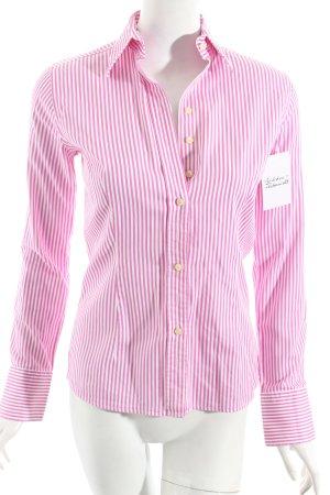 Umani Camicia blusa bianco-rosa motivo a righe stile classico