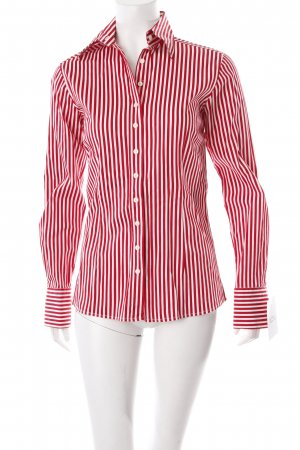 Umani Hemd-Bluse weiß-rot Streifenmuster klassischer Stil