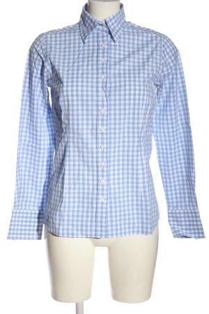Umani Camicia da boscaiolo blu-bianco stampa integrale stile casual
