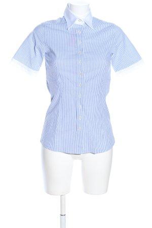 Umani Camicia a maniche corte blu-bianco motivo a righe stile professionale
