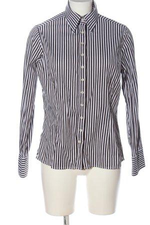 Umani Camicia a maniche lunghe nero-bianco motivo a righe elegante