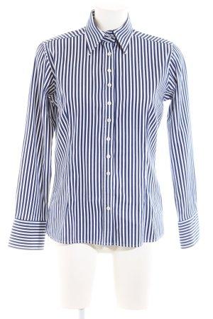 Umani Camicia a maniche lunghe blu-bianco motivo a righe stile professionale
