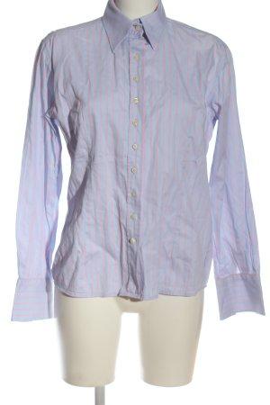 Umani Camicia a maniche lunghe blu-rosa motivo a righe stile casual