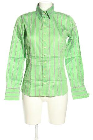 Umani Camicia a maniche lunghe verde-rosa motivo a righe stile casual