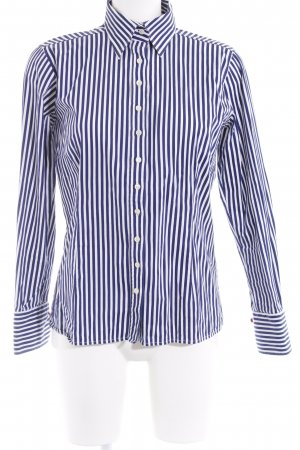 Umani Langarmhemd dunkelblau-weiß Streifenmuster Casual-Look