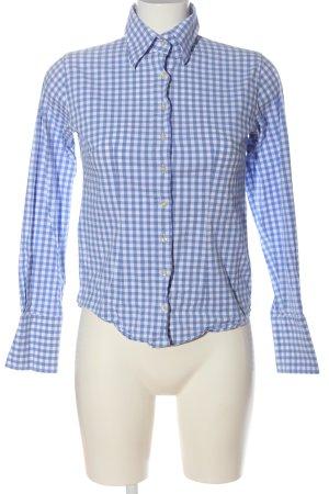 Umani Camicia a maniche lunghe blu-bianco stampa integrale stile professionale