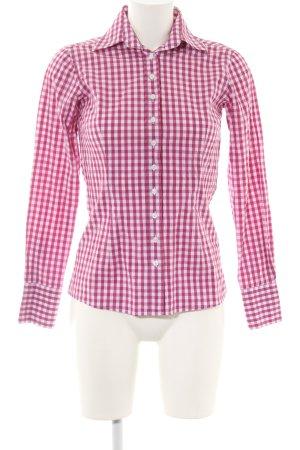 Umani Camisa de manga larga rosa-blanco estampado a cuadros estilo «business»