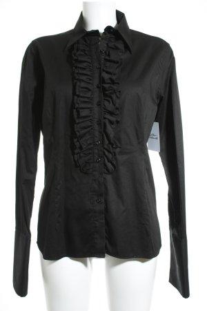 Umani Camicetta con arricciature nero elegante