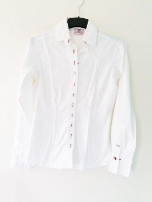 Umani weiße Hemdbluse Bluse extra langer Schnitt viele Knöpfe Manschettenknöpfe rote Akzente