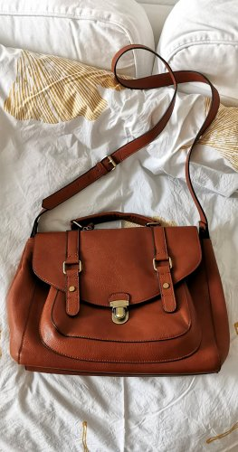 Umhänge Tasche Kunst Leder braun Shopper