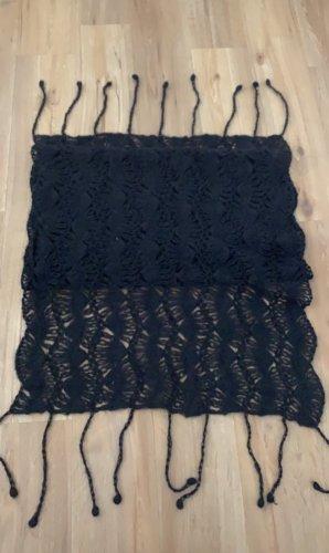 keine Szydełkowany szalik czarny Tkanina z mieszanych włókien