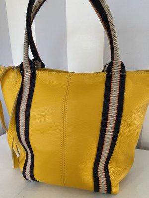 Umhängetasche Handtasche Schultertasche Ledertasche gelb neu TOP