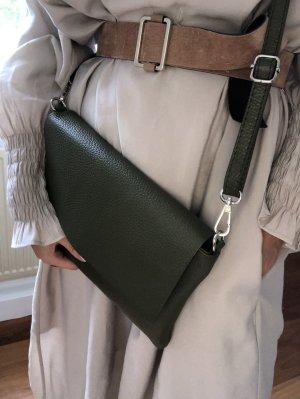 Umhängetasche Handtasche Schultertasche Ledertasche olive neu TOP