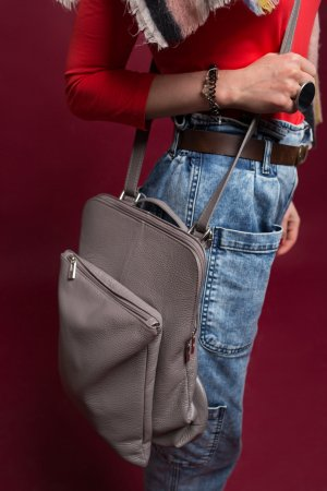 Borse in Pelle Italy School Backpack grey leather