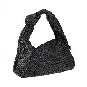 Umhängetasche Handtasche Schultertasche Ledertasche schwarz geflochten neu TOP