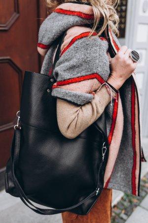 Borse in Pelle Italy Shopper zwart Leer