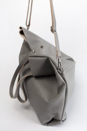 Umhängetasche Handtasche Schultertasche Ledertasche Shopper grau neu TOP