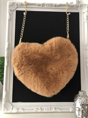Umhängetasche Herz beige flauschig Tasche braun