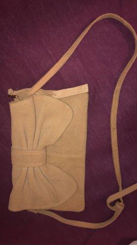 Umhängetasche Mango beige Schleife Leder