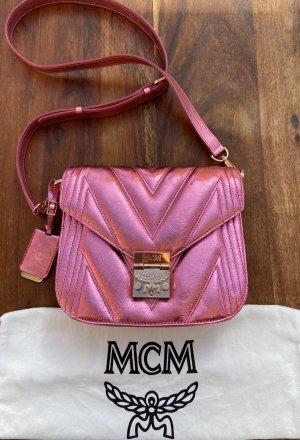 MCM Bandolera rosa Cuero